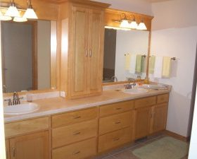 Augment your bathroom s miens with bathroom cabinets prefab granite depot for Bathroom vanities san diego